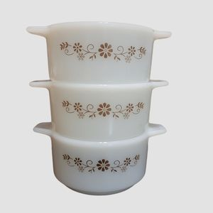 Vintage Dynaware Brown Daisy Mini Casserole Set